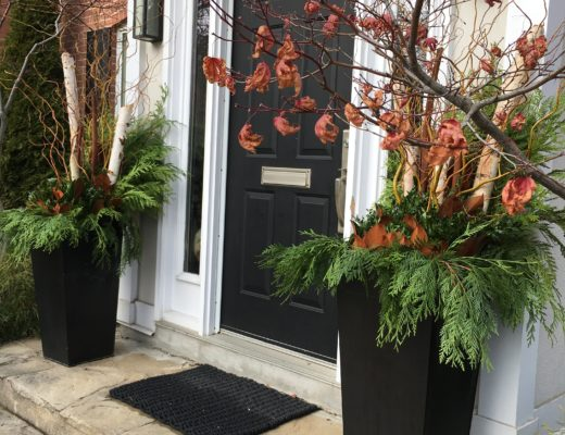 Outdoor winter planters, front entry pots, winter front entry pots
