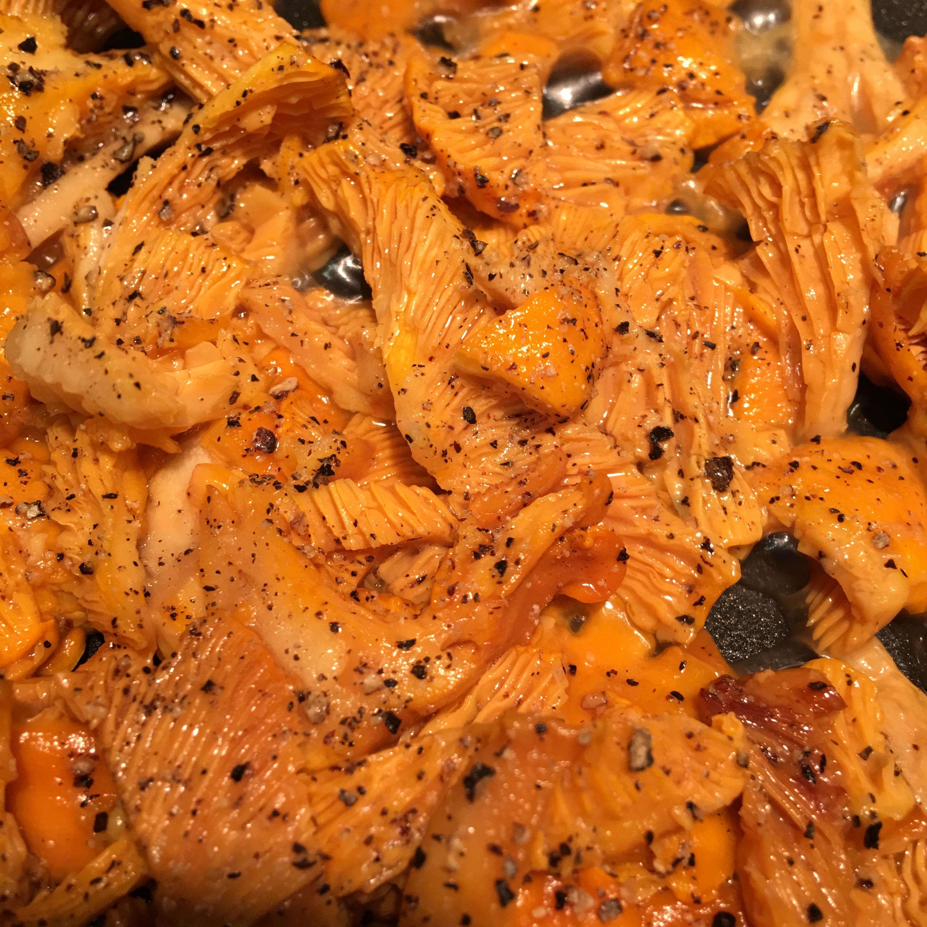 chanterelles, wild mushrooms, fried chanterelles